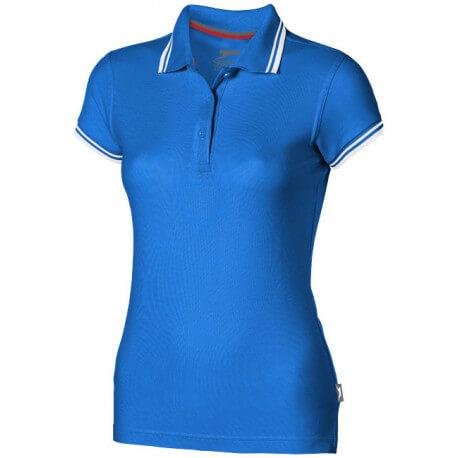 Damska koszulka polo z kontrastowymi paseczkami, DEUCE
