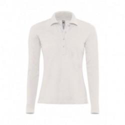 Damska koszulka polo z długim rękawem, SAFRAN PURE