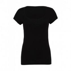 Sheer Mini Rib Scoop Neck T-Shirt