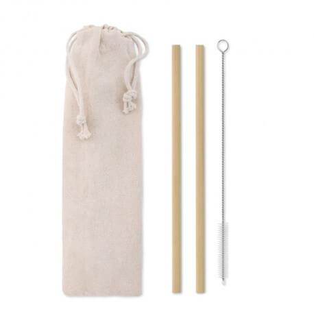 Zestaw 2 ekologicznych słomek bambusowych, NATURAL STRAW