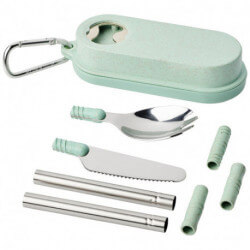 Giles wheat straw cutlery set with bottle opener