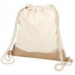 Bawełniano-jutowy plecak ze sznurkiem ściągającym, DELHI