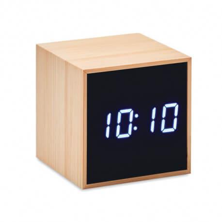 Bambusowy budzik LED, MARA CLOCK