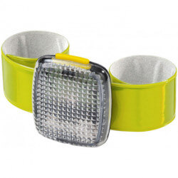 Slapz reflective arm strap with red light