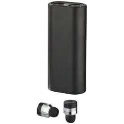 Metalowe słuchawki douszne z futerałem–powerbankiem, TRUE WIRLESS