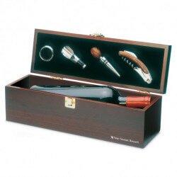 Drewniane pudełko na wino z akcesoriami, COSTIERES