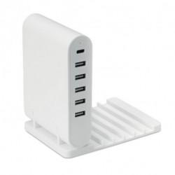 Składana stacja ładująca / hub USB 5-portowy, TORRE