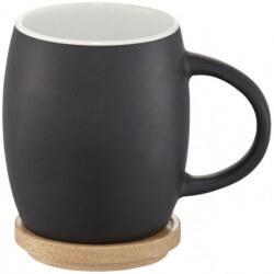 Ceramiczny kubek z drewnianym wiekiem/spodeczkiem, HEATRH